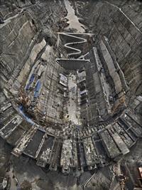 xiluodu dam #2, yangtze river, yunnan province, china by edward burtynsky