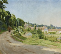 view of a village in a hilly landscape by gaston prunier