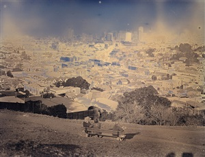 view from kite hill open space, san francisco, ca (park bench) by binh danh
