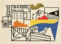 composition 1863 (factory by the sea) by stuart davis