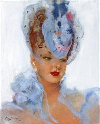 elegante au chapeau bleu by jean-gabriel domergue