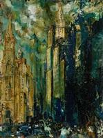 new york city street scene (man made canyons) by john r. grabach