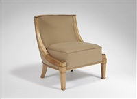 chauffeuse en sycomore à dossier arrondi et bois apparent / low chair in sycamore with a rounded back by andre arbus
