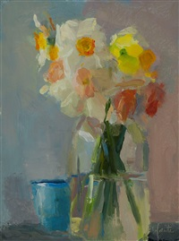 daffodils and jars by christine lafuente