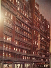 chelsea hotel sunset by richard haas