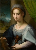 portrait of a lady as saint catherine of alexandria by domenico puligo