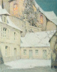 la maison sous l'église, hiver (house near the church winter) by henri le sidaner