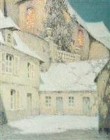 la maison sous l'église, hiver (house near the church winter) by henri le sidaner