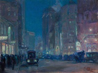 new york street scene by charles hoffbauer