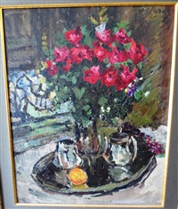 roses and violets by konstantin alexeievitch korovin