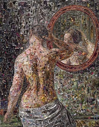 female nude standing before a mirror, after c.w. eckersberg by vik muniz