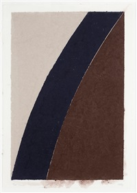colored paper image xii (blue curve with brown and gray) by ellsworth kelly