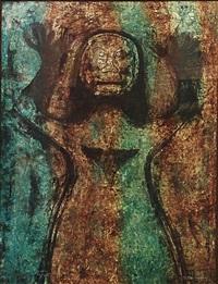 mujer con brazos en alto by rufino tamayo