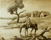 watering the mule by thomas hart benton
