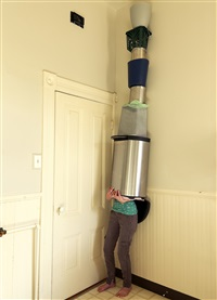garbage can tower by lee materazzi