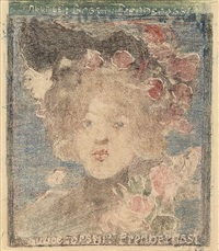 head of a girl (with roses) by maurice brazil prendergast