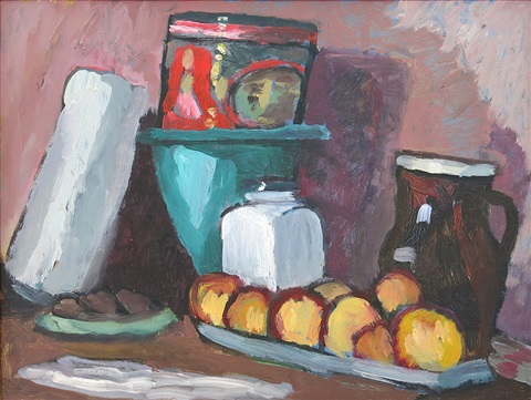 stilleben mit braunem krug / still life with brown jug by gabriele münter