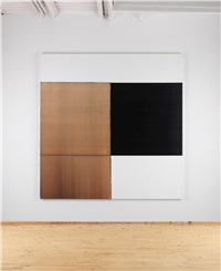exposed painting charcoal black orange oxide by callum innes