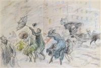 windy day, new york city by everett shinn