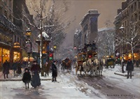 porte st. denis, winter by edouard léon cortès