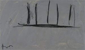 open study in charcoal on grey, #3 by robert motherwell