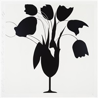 black tulips and vase, feb 26, 2014 by donald sultan