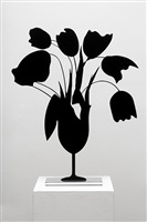 black tulips and vase, april 5, 2014 by donald sultan