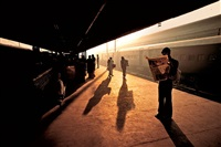 train station at old delhi, india, 1983 by steve mccurry