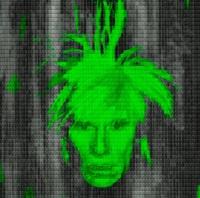 self portrait: warhol vs warhol (green) by alex guofeng cao