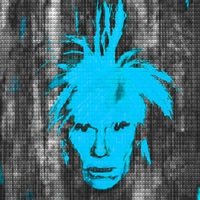self portrait: warhol vs warhol (teal) by alex guofeng cao