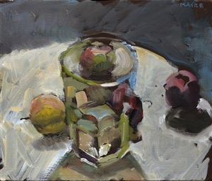 faceted glass with apples by catherine maize