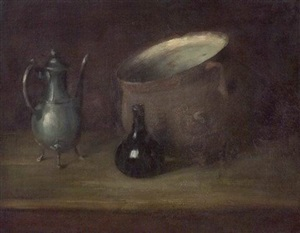 still life coffee pot, glass and earthenware bowl by william merritt chase