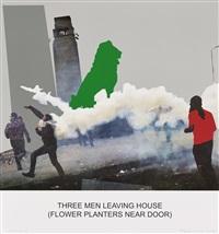 the news: three men leaving house... by john baldessari