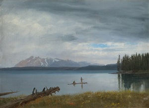 fishing in yellowstone lake by albert bierstadt