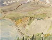 blick auf die küste und den strand bei taormina by erich heckel