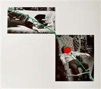 man collapsed on sofa; man tied to chair (a fix'd inflexible sorrow) by john baldessari