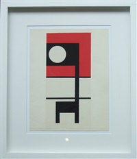 black and red on white by ben nicholson