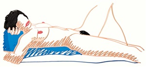 monica lying on her back by tom wesselmann