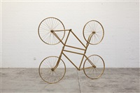 forever ( stainless steel bicycles in gilding) duo by ai weiwei