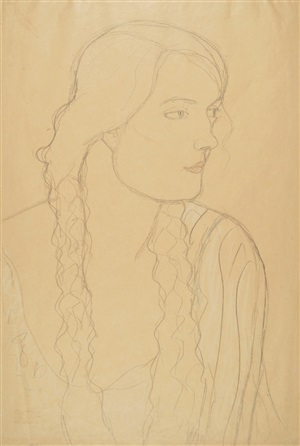 portrait of a girl with braids by gustav klimt