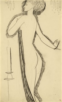standing female nude in profile with lighted candle by amedeo modigliani