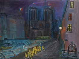 notre dame at night by ludwig bemelmans