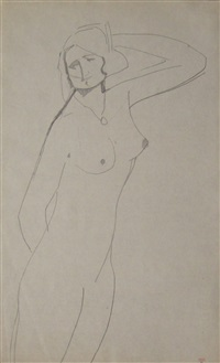 standing nude with raised left arm by amedeo modigliani