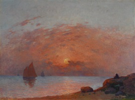 voiliers au soleil couchant by ferdinand puigaudeau