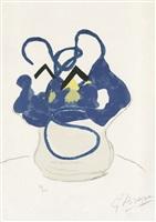 bouquet: fleurs bleues (strauß: blaue blumen) aus apollinaire, si je mourais là-bas by georges braque