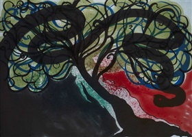 tempest from the series paradise by night by chris ofili