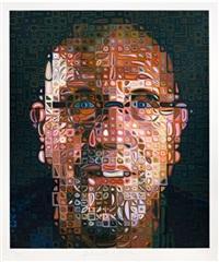 self-portrait screenprint by chuck close