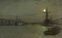 the pool and london bridge at night by john atkinson grimshaw