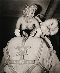 marilyn monroe riding the pink elephant by weegee