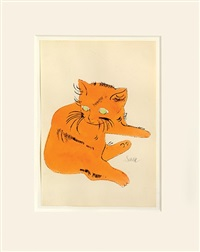 sam (orange cat with green eyes) by andy warhol